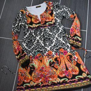 Reborn Soft Boho Dress Damask & Paisley Print  XL